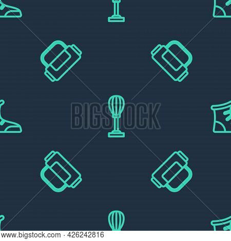 Set Line Punching Bag, Sport And Boxing Shoes On Seamless Pattern. Vector