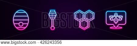 Set Line Hive For Bees, Honey Dipper Stick, Honeycomb And Bee. Glowing Neon Icon. Vector