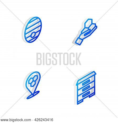 Set Isometric Line Honeycomb And Hand, Hive For Bees, Location And Icon. Vector