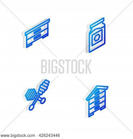 Set Isometric Line Jar Of Honey, Hive For Bees, Honey Dipper Stick And Icon. Vector