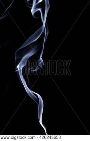 Smoke Black Background. Blur Abstract Fog, White Smoke Or Steam Mist Cloud Isolated On Black Backgro