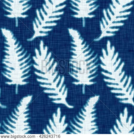 Cyanotypes Blue White Botanical Fern Texture. Faux Photographic Sun Print Effect For Trendy Out Of F