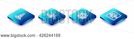 Set Isometric Line Burning Candle, Date Fruit, Octagonal Star And No Smoking Icon. Vector