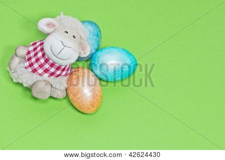 Easter Eggs And Lamb