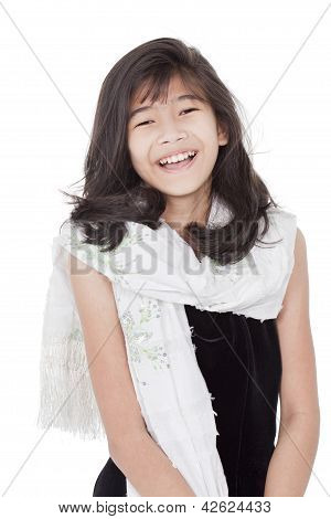 Beautiful Young Girl In Formal Gress Standing, Smiling