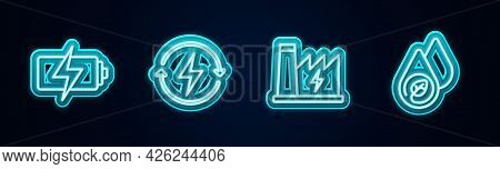 Set Line Battery, Recharging, Nuclear Power Plant And Water Energy. Glowing Neon Icon. Vector