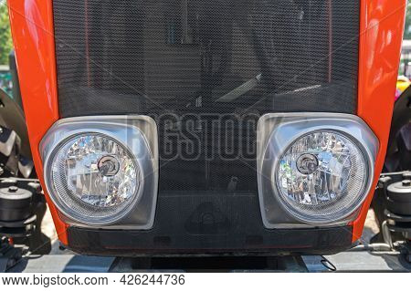 Halogen Headlights At Front Of Tractor Agriculture Vehicle