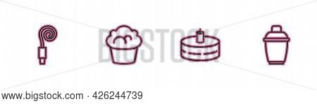 Set Line Birthday Party Horn, Cake With Burning Candles, Muffin And Cocktail Shaker Icon. Vector