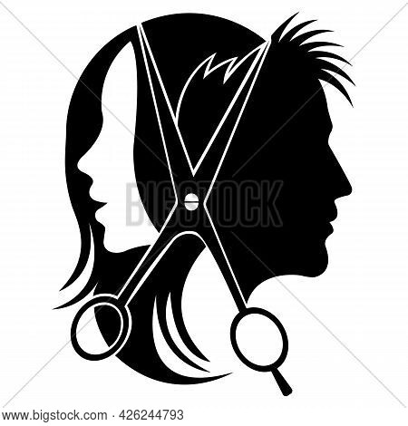 Silhouette Of A Woman And A Man With Scissors. Design Suitable For Tool Shop Logo, Haircut Salon, Ba