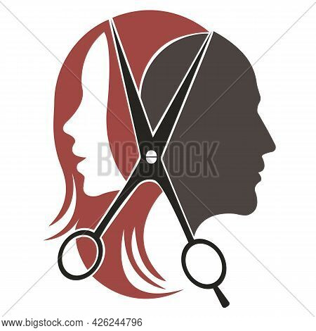 Silhouette Of A Woman And A Man In Color With Scissors. Design Suitable For Tool Shop Logo, Haircut