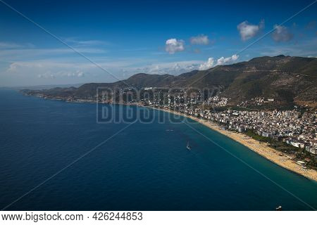 Panoramic view of Alanya and Cleopatra beach from Alanya Castle, Turkey.