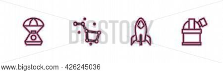 Set Line Space Capsule, Rocket Ship, Great Bear Constellation And Astronomical Observatory Icon. Vec