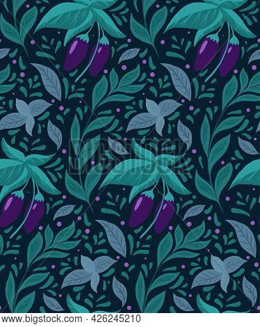 Seamless Pattern With Eggplants On The Bushes, Basil Twigs And Doodle Decoration On White Background