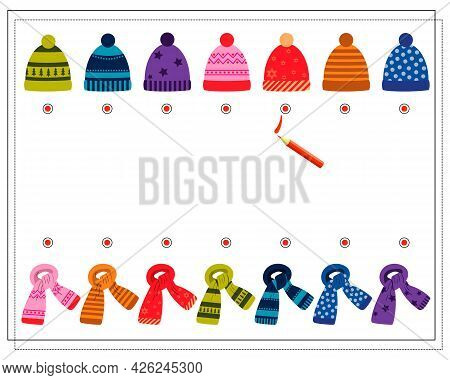 A Logical Game For Children. Find A Pair For A Scarf Hat. Vector Isolated On A White Background