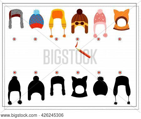 A Logical Game For Children. Find The Right Shade, Winter Hats Of Different Shapes. Vector Isolated