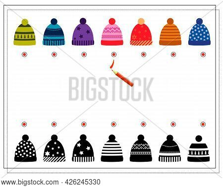 A Logical Game For Children. Find The Right Shade, Winter Hats With Different Patterns. Vector