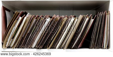Files and folders on shelf business work for organizing papers
