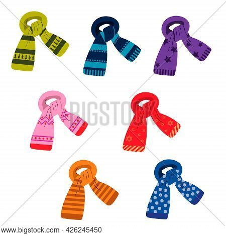 A Set Of Winter Colored Scarves With A Pattern. Vector Isolated On A White Background