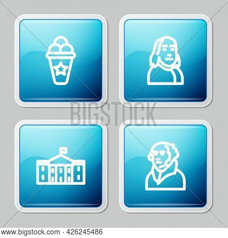 Set Line Ice Cream In Waffle Cone, Benjamin Franklin, United States Capitol Congress And George Wash
