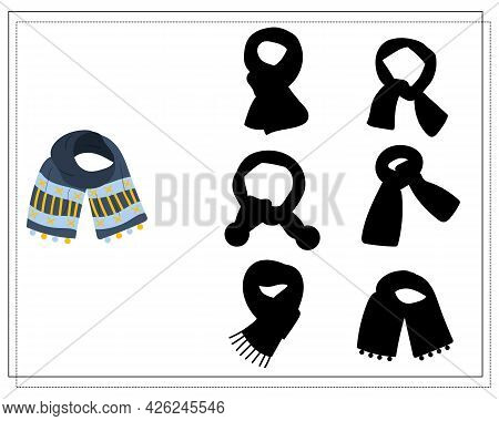 A Logical Game For Children. Find The Right Shade, Winter Scarf Is Blue With An Ornament. Vector