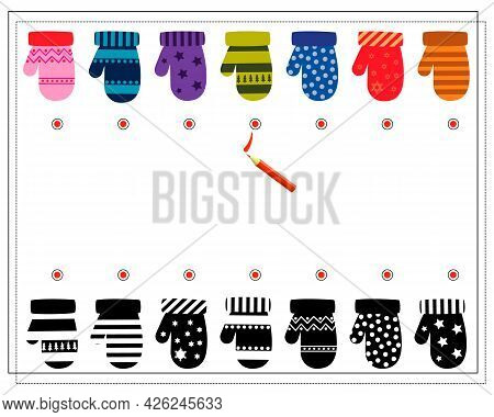 A Logical Game For Children. Find The Right Shade, Mittens With Ornaments. Vector Isolated On A Whit