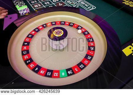 Belarus. Minsk - 25.06.2021 - Roulette In A Casino, Red, Black, Ball, Luck.