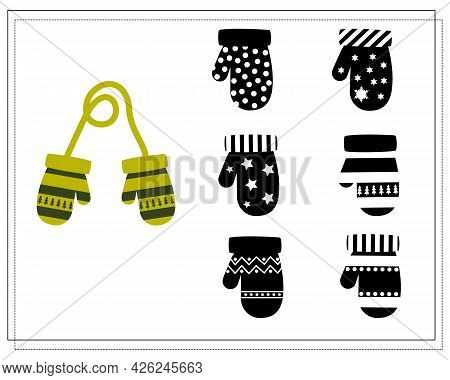 A Logical Game For Children. Find The Right Shade, Green Mittens With An Ornament. Vector Isolated O