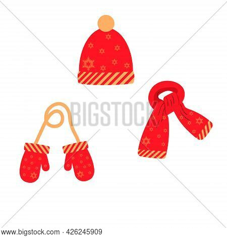 Set Of Hat, Scarf, Mittens In Red With A Snowflake Pattern, Winter. Vector Isolated On A White Backg