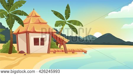 Cute Bungalow Or Beach Hut On Tropical Island Resort. Wooden House With Terrace, Palm Trees. Ocean A