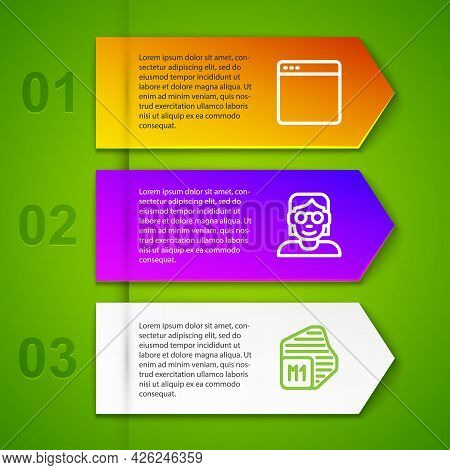 Set Line Browser Window, Hacker Or Coder And Processor. Business Infographic Template. Vector
