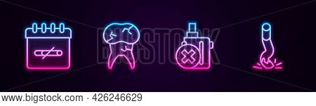 Set Line No Smoking Days, Tooth With Caries, Electronic Cigarette And Cigarette Butt. Glowing Neon I
