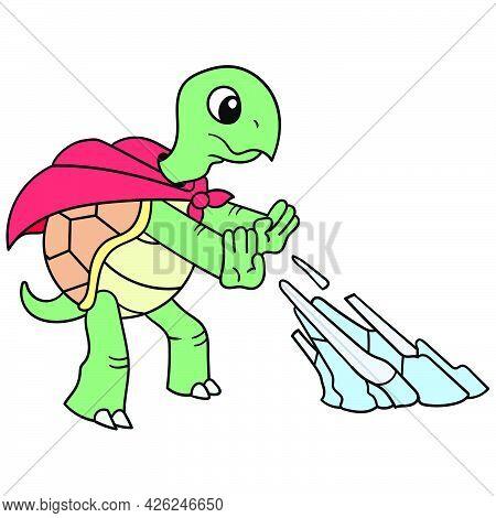 Superhero Turtle Is Releasing Ice Style, Vector Illustration Art. Doodle Icon Image Kawaii.