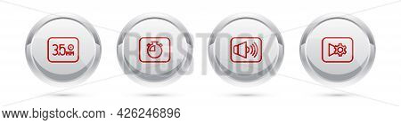 Set Line Audio Jack, Stopwatch, Speaker Volume And Music Or Video Settings. Silver Circle Button. Ve