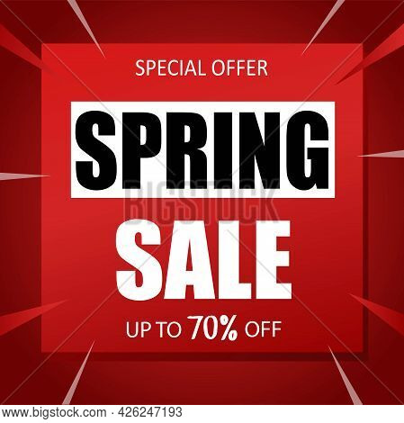 Spring Sale Banner Special Seasonal Offer Advertising Up To 70 Percent Off Discount Template Design