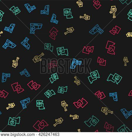 Set Line Sneakers, Speech Bubble Chat, Bong And On Seamless Pattern. Vector