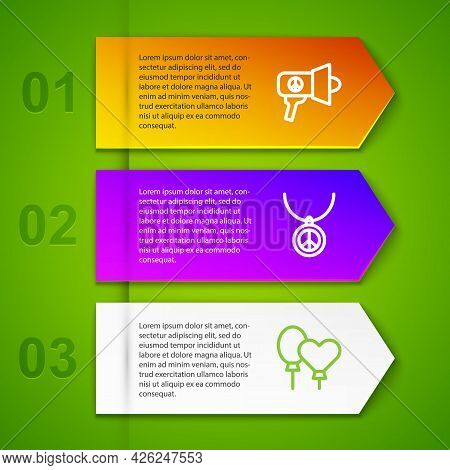 Set Line Megaphone, Necklace With Peace Symbol And Balloons. Business Infographic Template. Vector