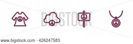 Set Line Peace Dress Print Stamp, , Cloud And Necklace With Peace Symbol Icon. Vector