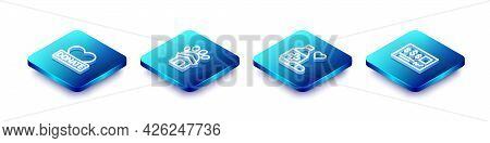 Set Isometric Line Donation And Charity, Animal Shelter House, Medicine Bottle Pills And Bank Check
