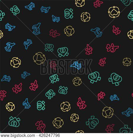 Set Line Shelter For Homeless, Donation And Charity, Volunteer And Heart In Hand On Seamless Pattern