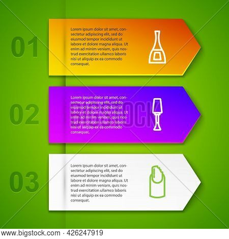 Set Line Bottle Of Nail Polish, Nail And Broken. Business Infographic Template. Vector