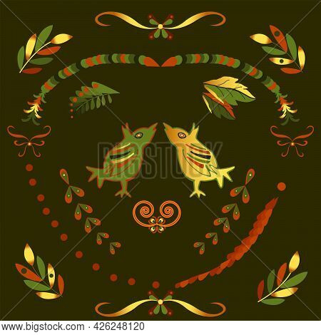 Decorative Pattern With Two Birds In The Russian Style For Decorating Jewelry Boxes, Ceramics And Fa
