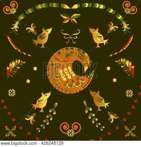 Decorative Pattern In The Form Of A Bird In The Russian Style For Decorating Jewelry Boxes, Ceramics
