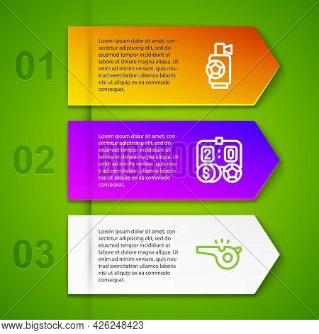 Set Line Air Horn, Football Betting Money And Whistle. Business Infographic Template. Vector