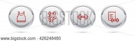 Set Line Sleeveless T-shirt, Sports Doping With Dumbbell, Dumbbell And Training Program. Silver Circ