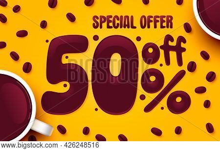 50 Percent Off. Discount Creative Composition. Coffee Special Offer. Sale Banner And Poster. Vector