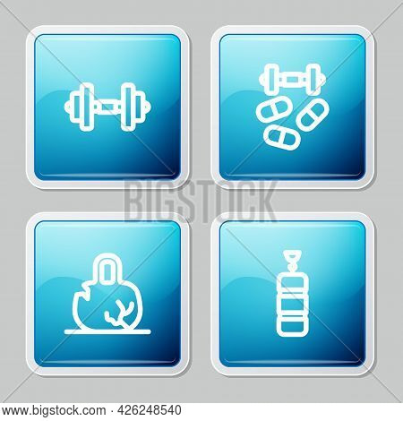 Set Line Dumbbell, Sports Doping With Dumbbell, Broken Weight And Punching Bag Icon. Vector