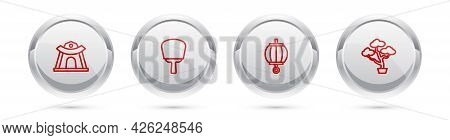 Set Line Korean Temple, Hand Fan, Lantern And Bonsai Tree. Silver Circle Button. Vector