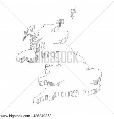 United Kingdom Of Great Britain And Northern Ireland, Uk - 3d Black Thin Outline Silhouette Map Of C