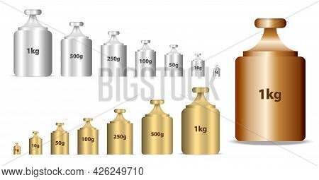 Set Of Realistic Calibration Weights Isolated Or Calibrating Weight In Golden And Silver Style Or Ma