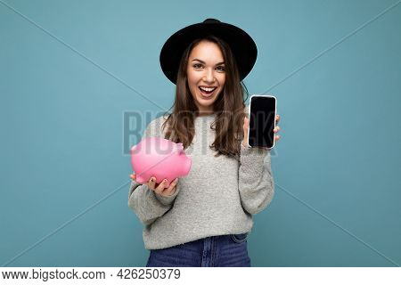 Portrait Photo Of Happy Positive Smiling Satisfied Sincere Young Attractive Brunette Woman Wearing S